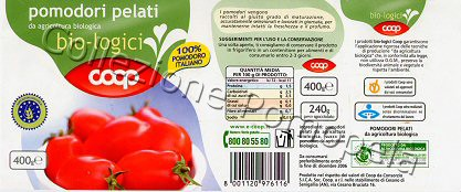 Pomopela 39 etichette pomodori pelati coop peeled tomatoes for Pomodoro senigallia